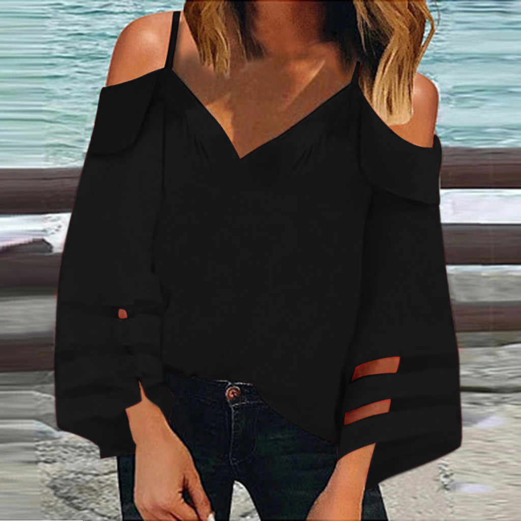 Feitong Sexy Blouse Vrouwen Off Shoulder Top Mesh Panel Blouse 3/4 Bell Mouwen Losse Streetwear Top Shirt Vrouwen Kleding 2019