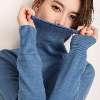 Suéter básico de punto de cachemir de color puro de manga larga de cuello alto de Otoño e Invierno para mujer