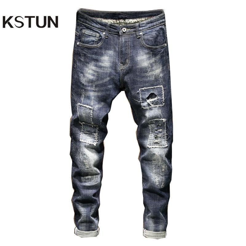 KSTUN Ripped Jeans For Men Slim Fit Jeans Men Thickness Distressed Biker Jeans Hip Hop Patchwork Streetwear Male Denim Pants