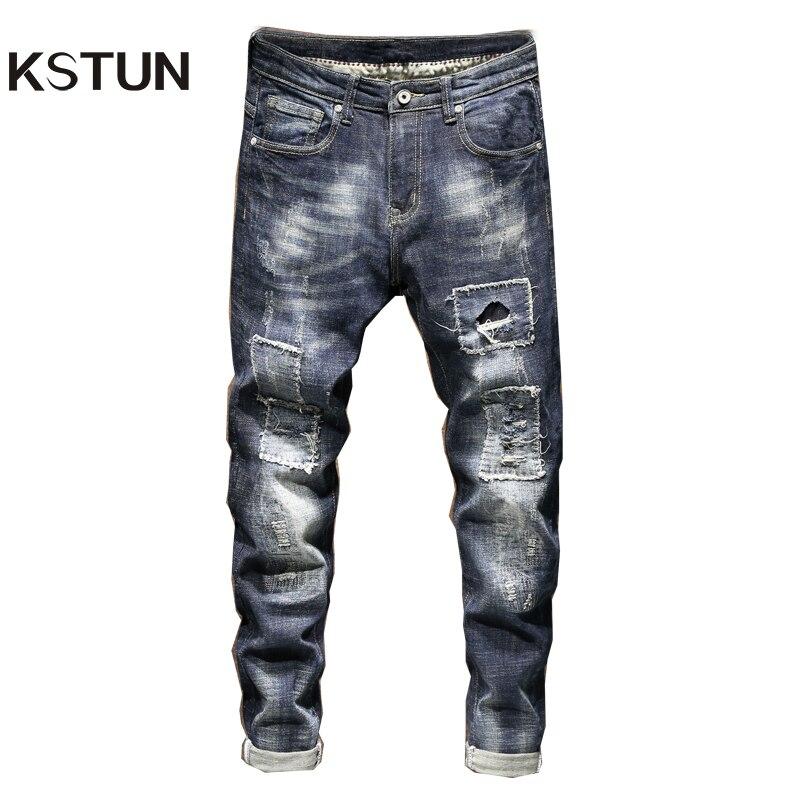 Ripped Jeans For Men Skinny Jeans Men Thickness Distressed Biker Jeans Hip Hop Patchwork Streetwear Denim Pencil Pants