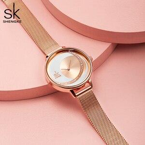 Image 2 - Shengke kristal bayan saatler lüks marka kadınlar elbise İzle orijinal tasarım kuvars bilek saatleri yaratıcı Relogio Feminino