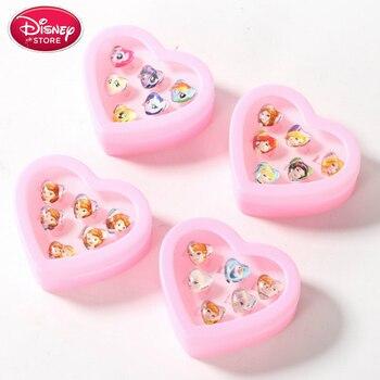 Girls Disney Frozen Anna Elsa Sophia Princess Toy Makeup Sofia Belle Snow White Pretend Play Toys Kids Ring Set Disney Jewelry недорого