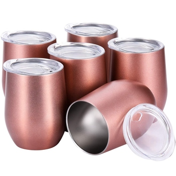 1 Set 6 Pcs 12 Oz Unbreakable Wine Tumbler Lids With Straw Hole Suitable For Party Gathering