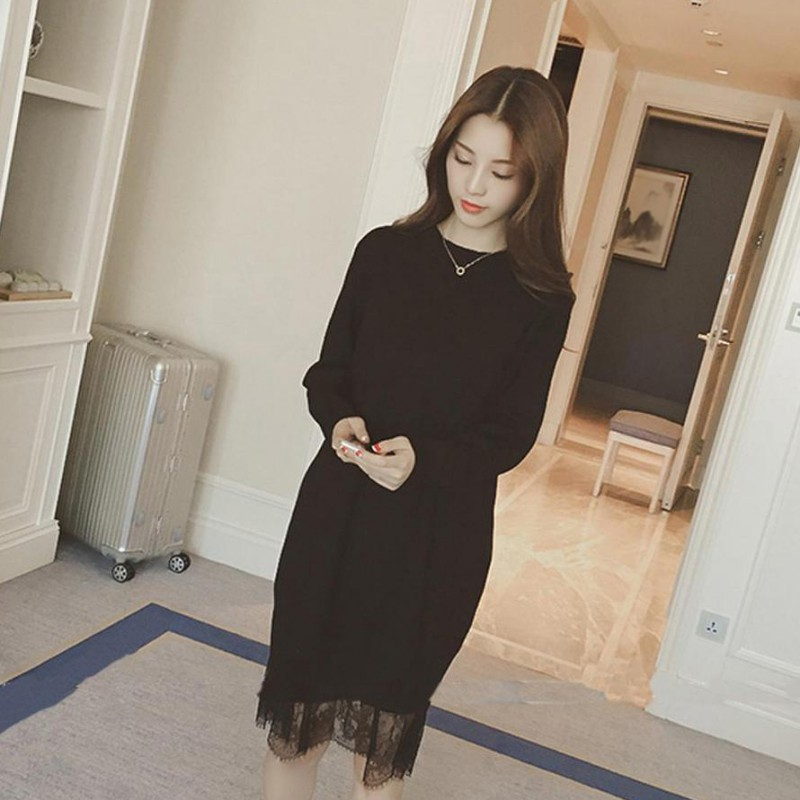 Long sleeves slim sweater DRESS  Women Casual Lace Dress Autumn Dress Slim Lace Stitching Solid Black Knitting Vestidos 2020 Hot