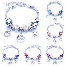 Pulsera de cuentas de cristal con forma de corazón para mujer, brazalete de cuentas de cristal con forma de corazón, regalo de joyería
