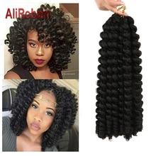 AliRobam Crochet Braids Short Jamaican Bounce Hair Black Wand Curl Black Woman Synthetic Braiding Hair Extensions 20 roots/pack
