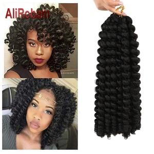 Image 1 - AliRobam Crochet Braids Short Jamaican Bounce Hair Black Wand Curl Black Woman Synthetic Braiding Hair Extensions 20 roots/pack