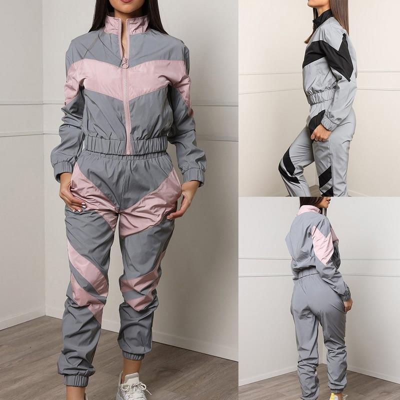Casual Patchwork Two Piece Set Womens Autumn Sportswear Zipper Cardigan Sweatshirt+Pencil Pants Tracksuit Gym Loose Matching Set