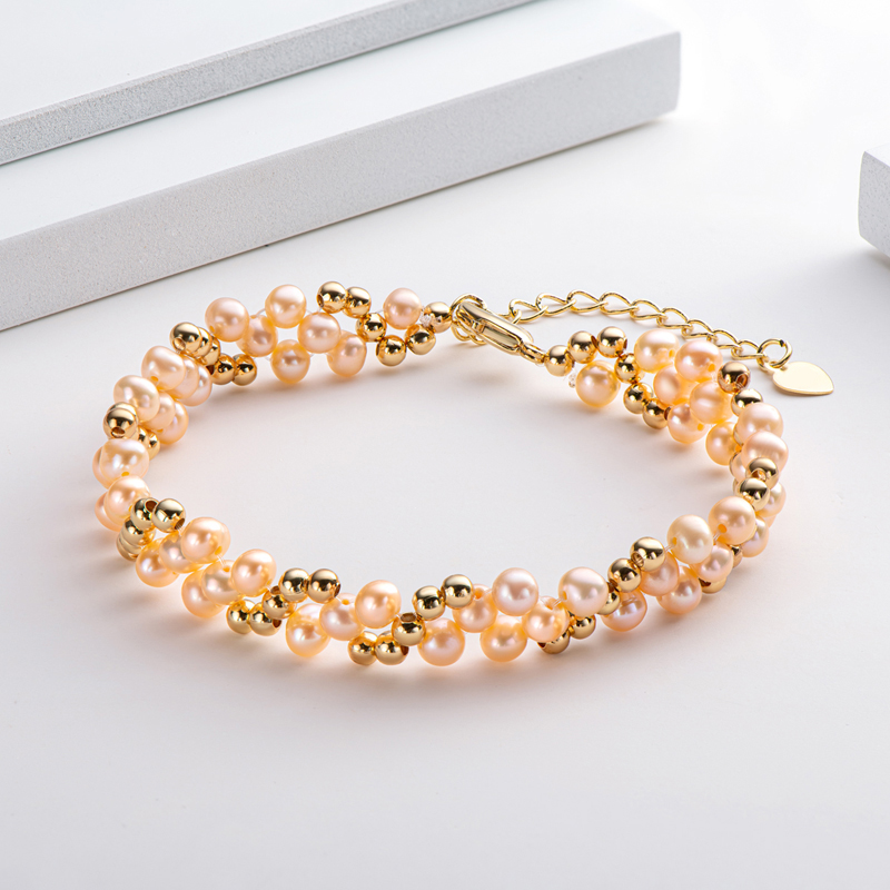 Lnngy women's gold bracelet with pink pearls msow