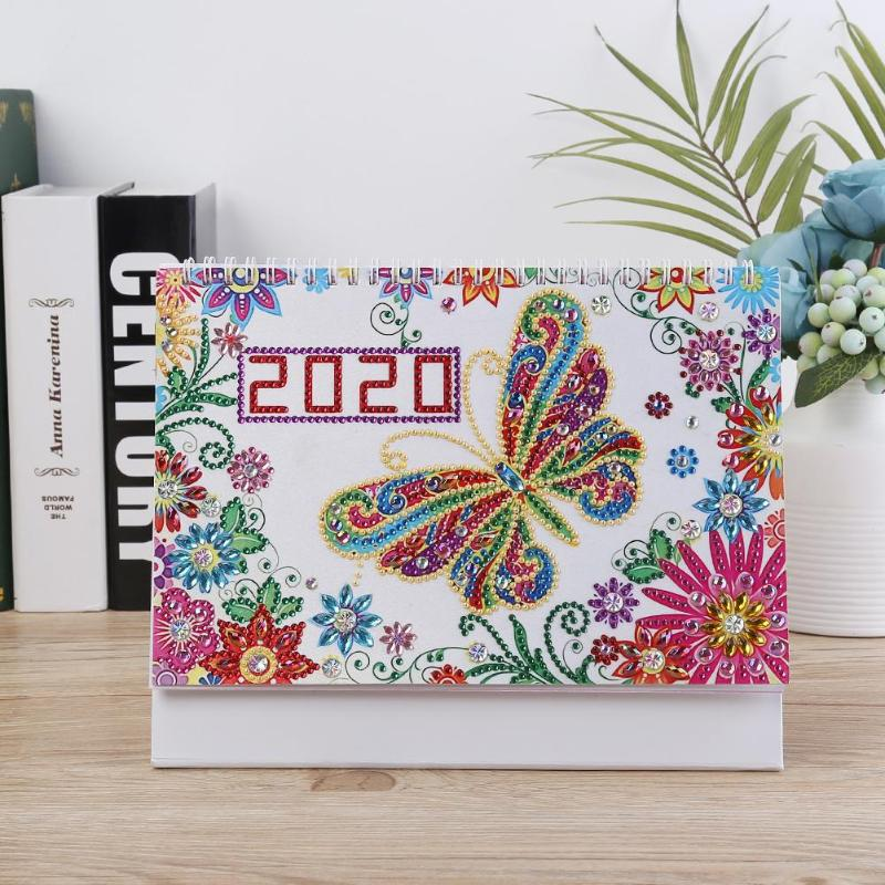 Diamond Painting Butterfly Calendar DIY Drill Special Shape Agenda Organizer Ornament Needlework Craft Home Bedroom Decoration