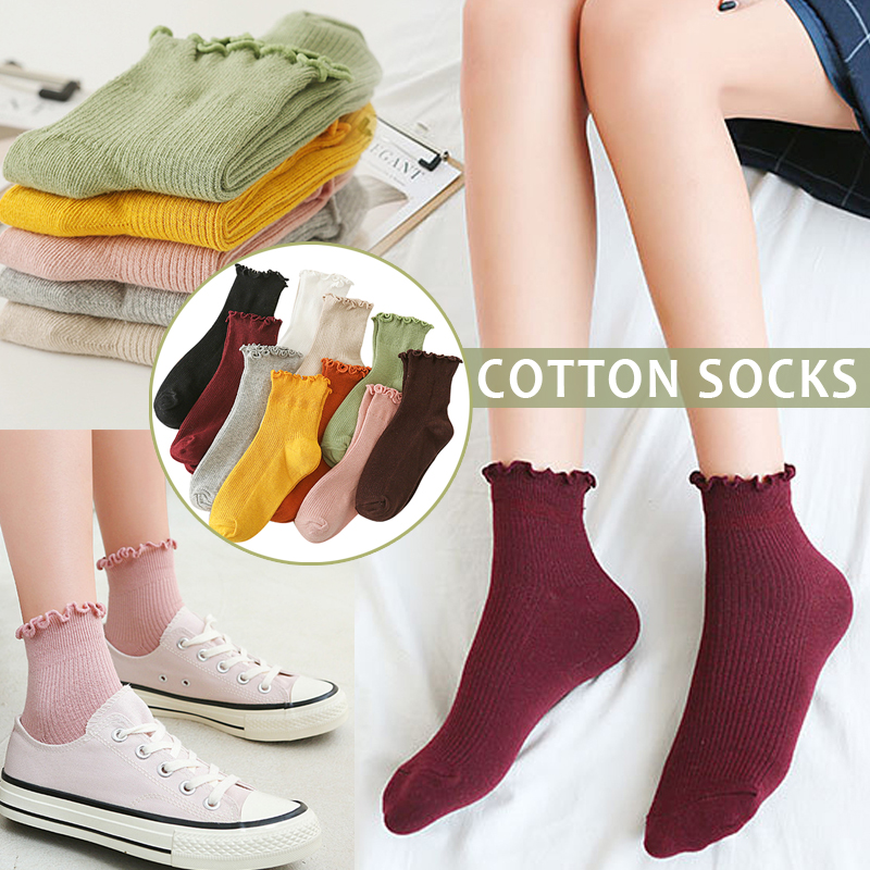 1 Pair Women Lady Socks Lace Solid Color Breathable Elasticity For Spring Autumn BMF88
