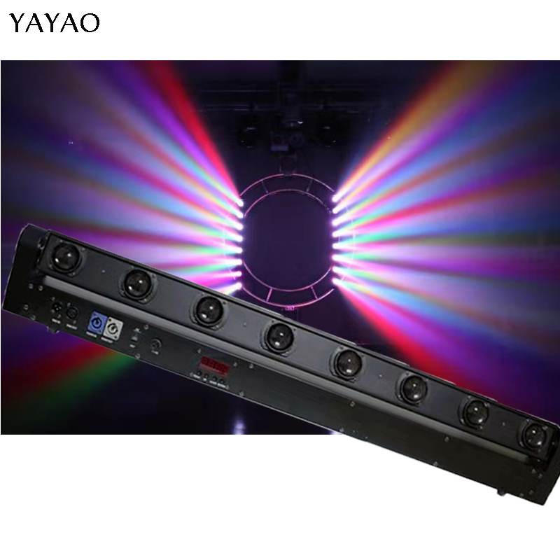 YaYaO RGBW 8X12W LED Moving Head Beam Light 150W With DMX512 10/38 Channel Bar Club Stage Effect