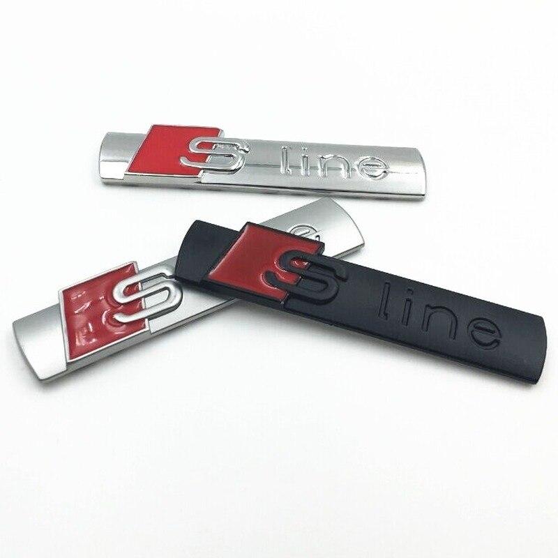 Car Sticker Sline Is Suitable For Audi A4LA5A6LSLINE Car Exterior Decorative Metal Sticker.