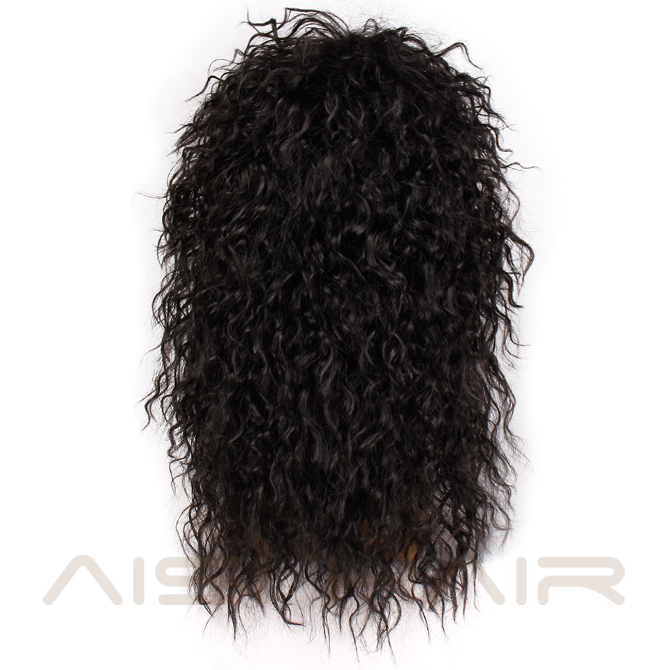 Image 3 - AISI HAIR Long Natural Black Curly wigs With Bang 20 Inches Synthetic Wigs  for Black Man/Women Heat ResistantSynthetic None-Lace  Wigs   -