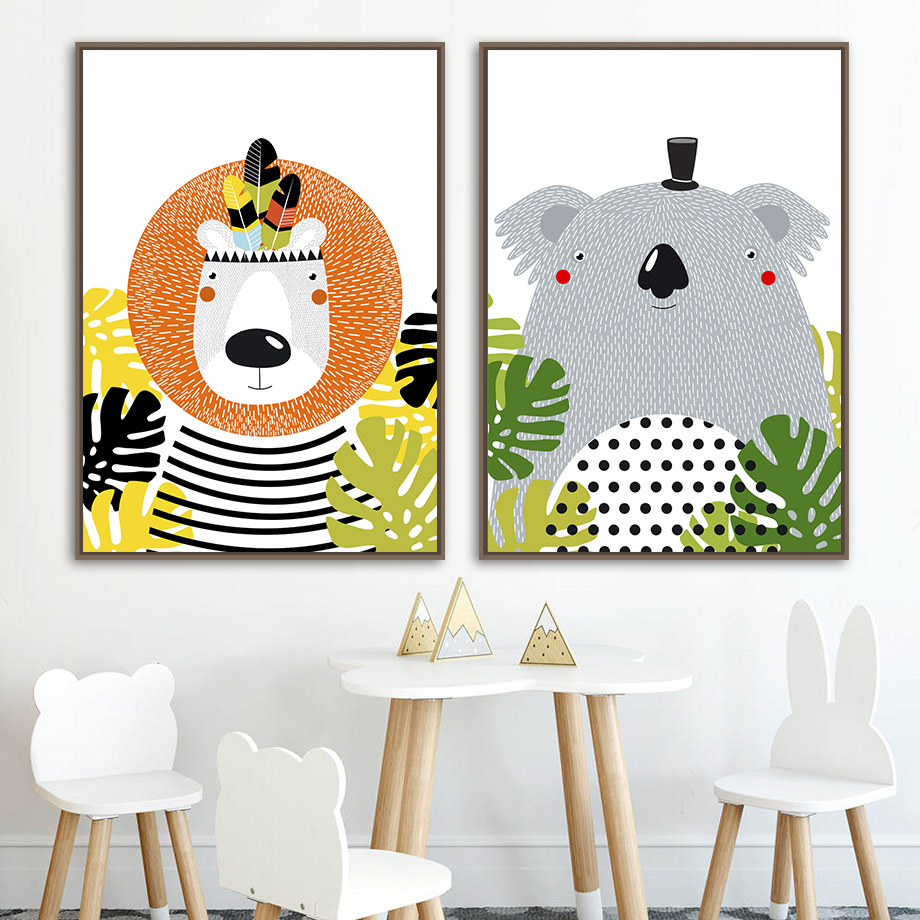 Crocodile Fox Koala Bear Panda Cartoon Wall Art Print Canvas Painting  Nordic Posters And Prints Pictures Baby Kids Room