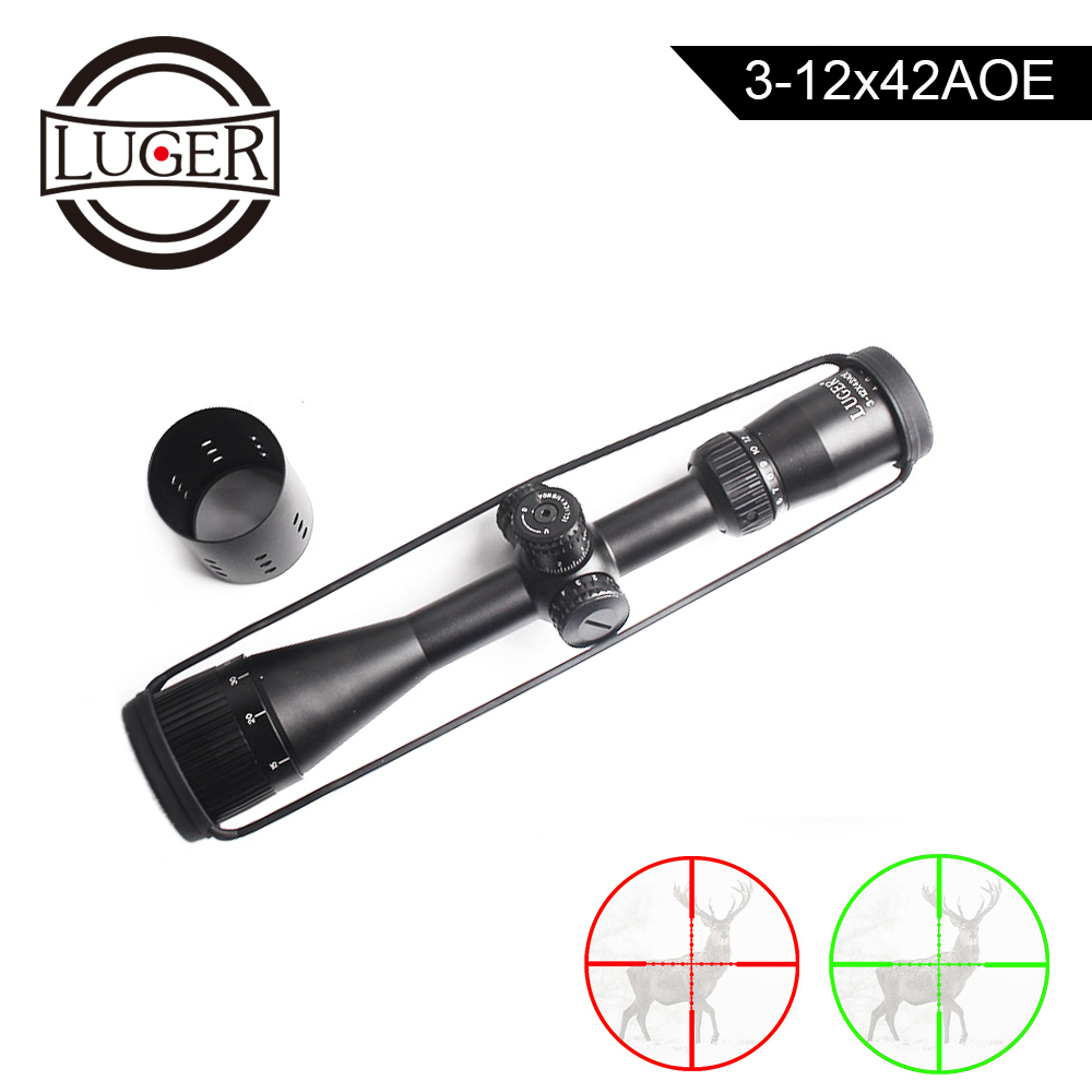 LUGER 3-12X42 AOE Tactical Optical Sight Riflescope Side Parallax Hunting Scope Red Green Mil Dot Reticle Air Gun Rifle Scope