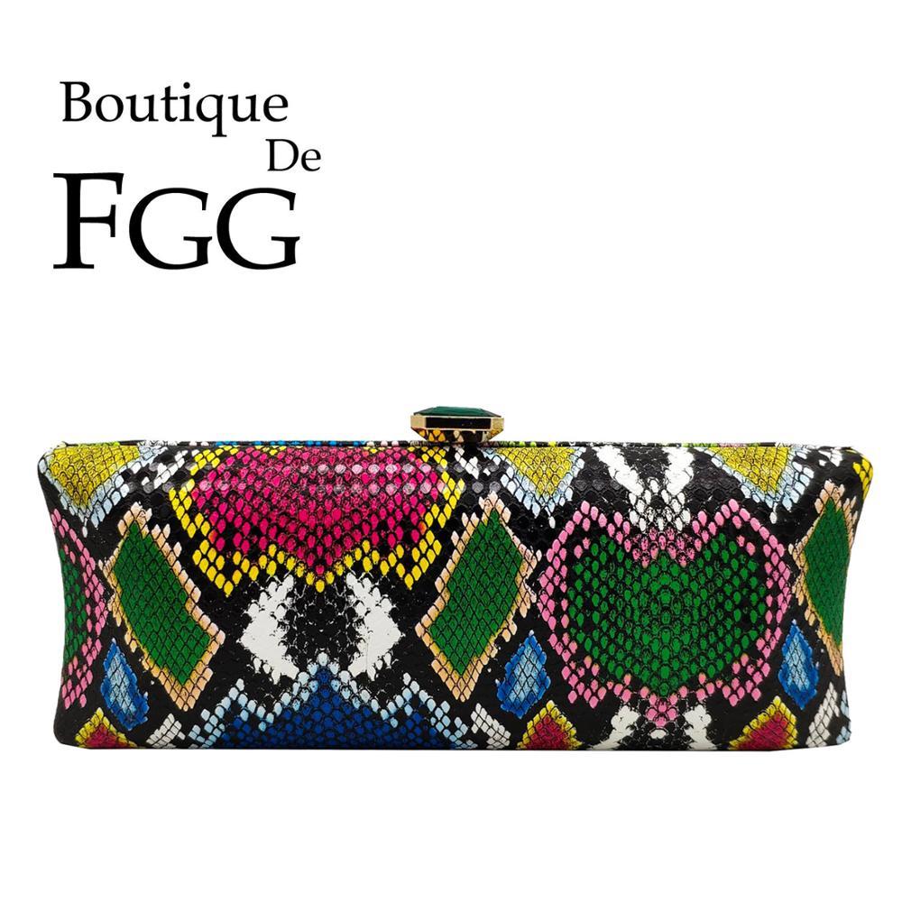 Boutique De FGG Multicoloured Python Pattern Women Evening Bags Green Diamond Ladies Cocktail Party Purses Day Clutches Handbags