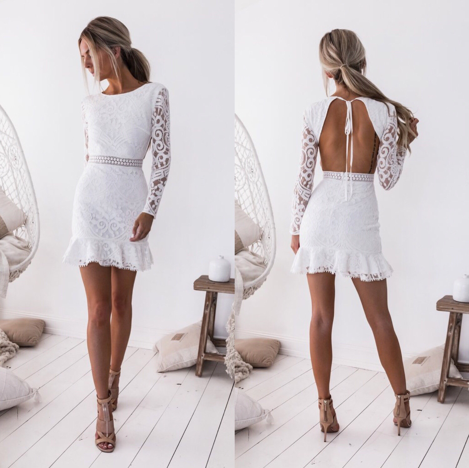BacklakeGirls 2019 Full Sleeve White Lace Women Dress Sexy Open Back Straps Short Cocktail Dress Short Formal Dresses