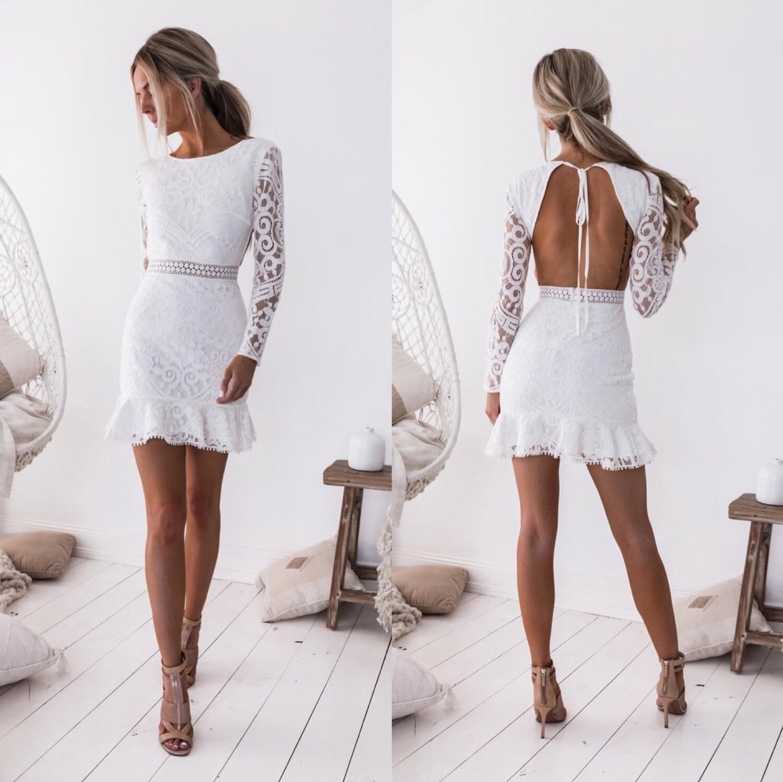 BacklakeGirls 2019 Full Sleeve White Lace Women Dress Sexy Open Back Straps Short Cocktail Dress Short Formal Dresses