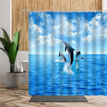 Ocean Design Dolphin Shower Curtain 3D Sea Scenery Bathroom Decor Set Nordic Style Backdrop Fabric Printed Bath Curtains 240x180 image
