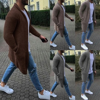 2019 Casual Solid Men Cardigan Streetwear Thin Long Sleeve Knitted Sweaters Autumn Mens Slim Fit Sweater Overcoat Plus Size 3XL 1