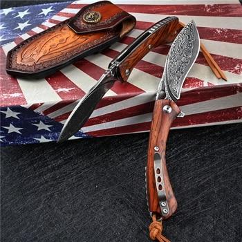VG10 Damascus Folding Knife Tactical Military With Holster Outdoor Camping Survival Hunting Self Defense Pocket Jackknife Navaja 3