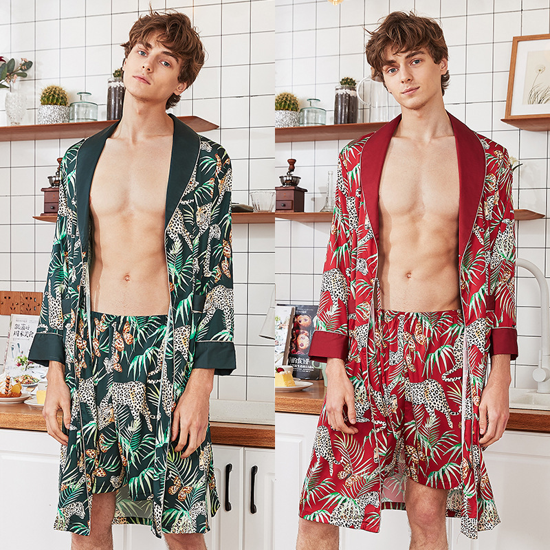 New Summer Silky Sleep Pajamas Suit Mens Shirt Pants Sleepwear Sets Casual Home Wear Nightwear Faux Silk Robe Bath Gown L-XXL