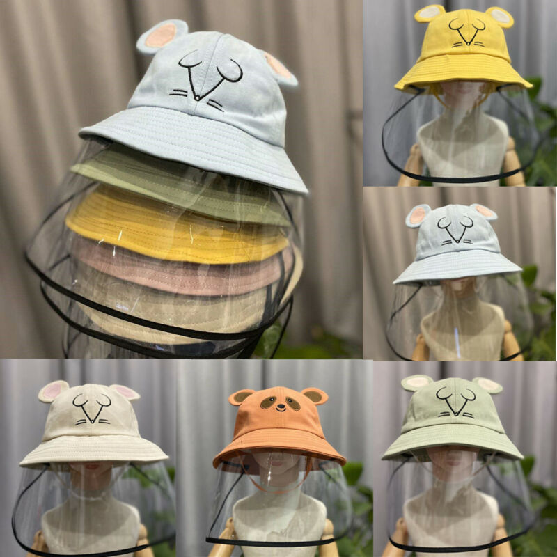 50-53cm Kids Baby Hat Protect Virus Bucket Hat Anti Dust Flu Protection Hats +Face Cover Windproof Cap Hat Cute Bear Caps