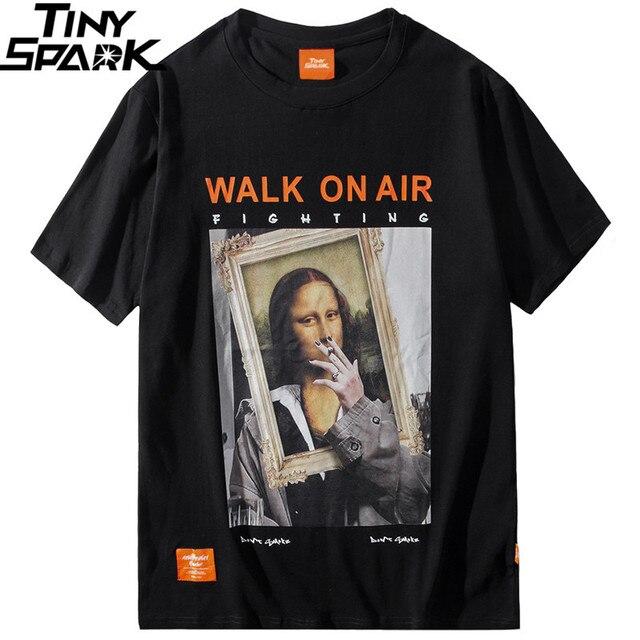 2019 Men Hip Hop T Shirt Funny Smoking Mona Lisa T Shirt Streetwear Summer Tshirts Short Sleeve Cotton Tops Tees Street Wear