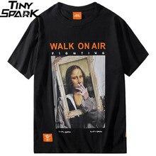 2019 męska koszulka hiphopowa śmieszne palenie Mona Lisa koszulka Streetwear letnie koszulki z krótkim rękawem bawełna topy koszulki odzież uliczna