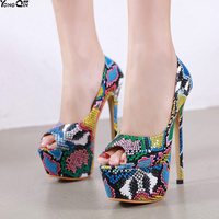 New Fashion Snake 16cm high heel women pumps peep toe sexy Ladies Sadals Shoes size 34 40