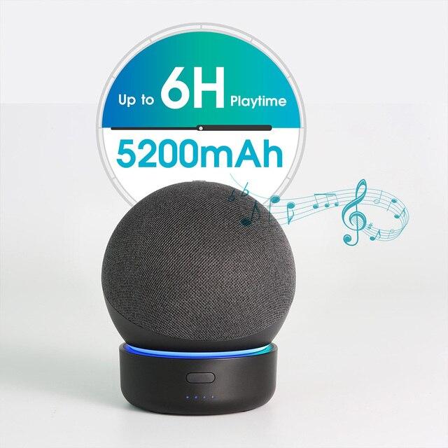 GGMM D4 Original Docking Station For Echo Dot 4th Gen Portable Battery Base For Amazon Alexa Smart Speaker Holder Mount Charger 2