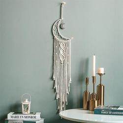 Atrapasueños de luna de algodón tejido de algodón bohemio colgante tapiz colgante para la decoración de la sala de estar del dormitorio