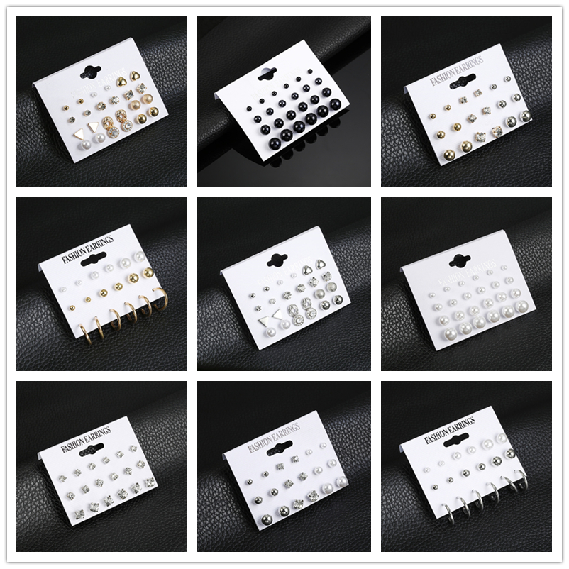 Earrings For Women Fashion Zircon Imitation Pearl Alloy Korean Cute Minimalist Mini Girl Studs For Christmas Gift 12 Pair Set