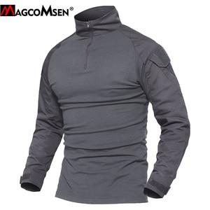 Image 3 - MAGCOMSEN camisetas tácticas de combate de camuflaje del ejército para hombre, camisetas militares de manga larga, Airsoft, Paintball, caza