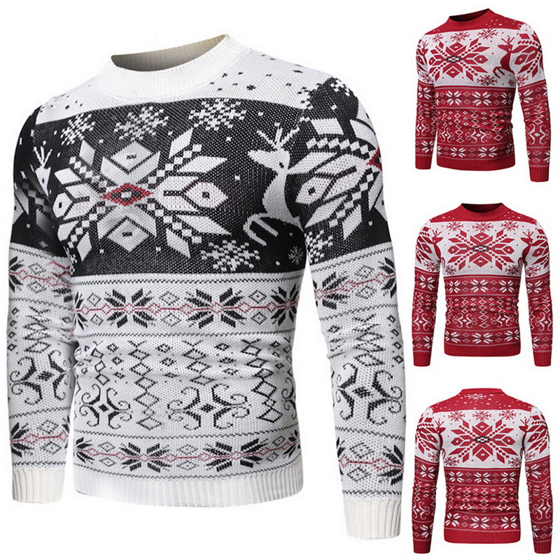 WENYUJH 2019 New Mens Christmas Sweater Autumn Winter Printed O Neck Pullover Knitted Jumper Sweaters Causal Slim Male Clothes