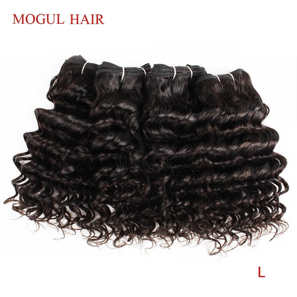 MOGUL HAIR 4 Bundles Brazilian Deep Wave Natural Black Color 50g/pc Dark Brown Non-Remy Human Hair Short Bob Style
