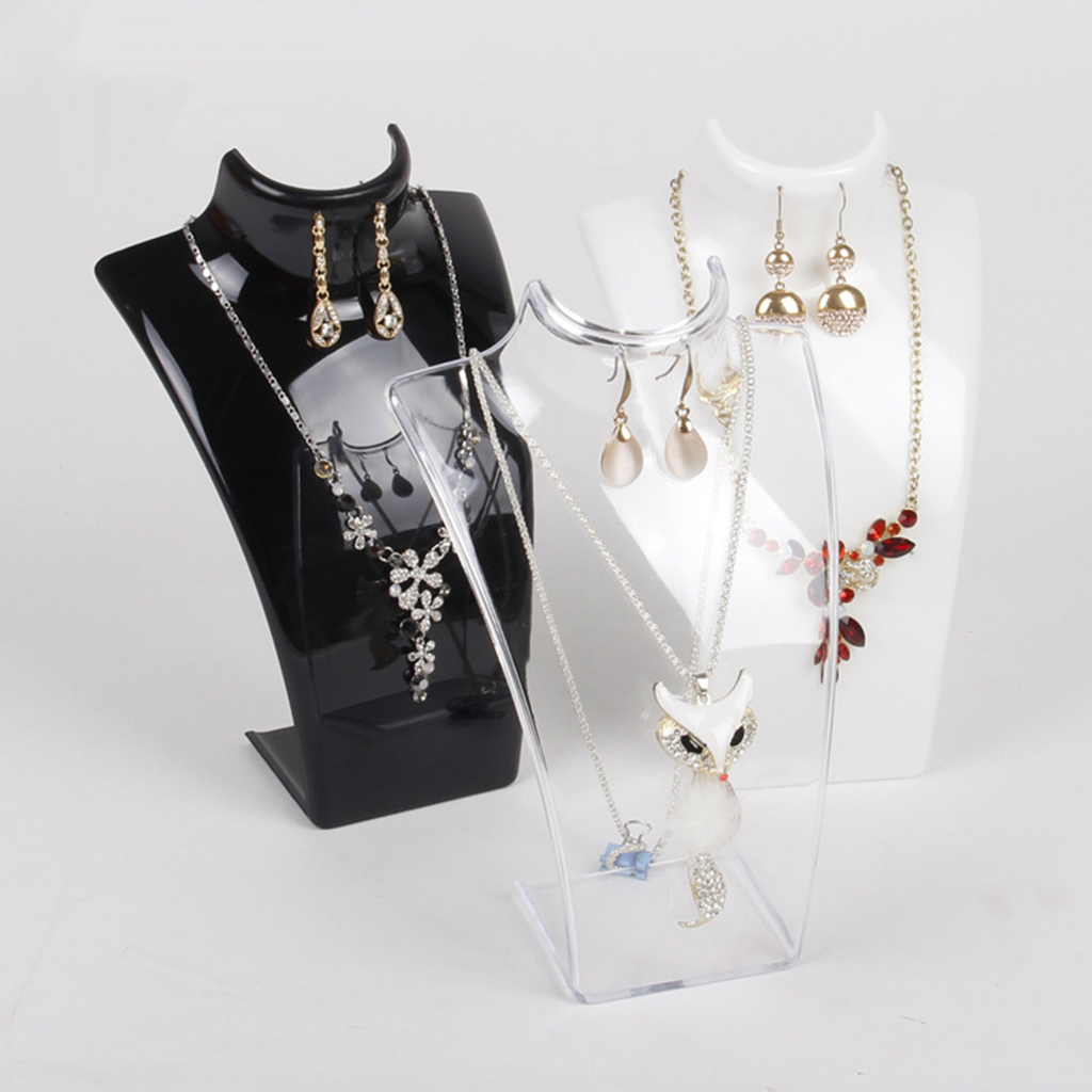 Acrylic Necklace Earring Jewelry Bust Display Stand  Showcase Display Mannequin Necklace Jewelry Pendant Display Stand Holder