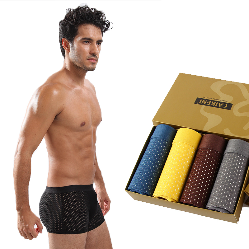 2019 Breathable Mesh Silk Men Boxers Plus Size Mens Bodysuit Underwear Male Panties Sexy Underpants