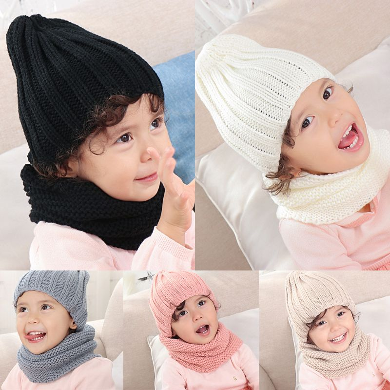 Infant Baby Crochet Knitted Hat Infinite Scarf Set Soft Neck Warmer Cap 0-3 Year High Quality And Brand New
