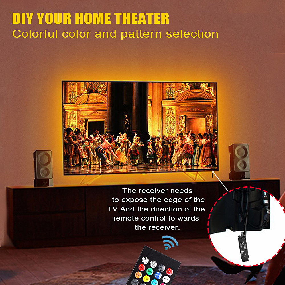 Hd48c3c4da4b54aca99b1c19349c1e2236 RGB 5050 USB LED Strip 5V Ribbon Flexible Led Light Strip USB Tira LED Neon RGB Tape 17 Keys Remote TV Background Lighting 1M 3M