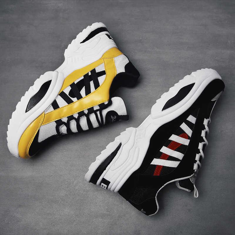 Baideng Zwart Geel Sneakers Mannen Outdoor Stijlvolle Comfortabele Sportschoenen Vrouwen EAF ABO Brief Jogging Loopschoenen Big Size 46