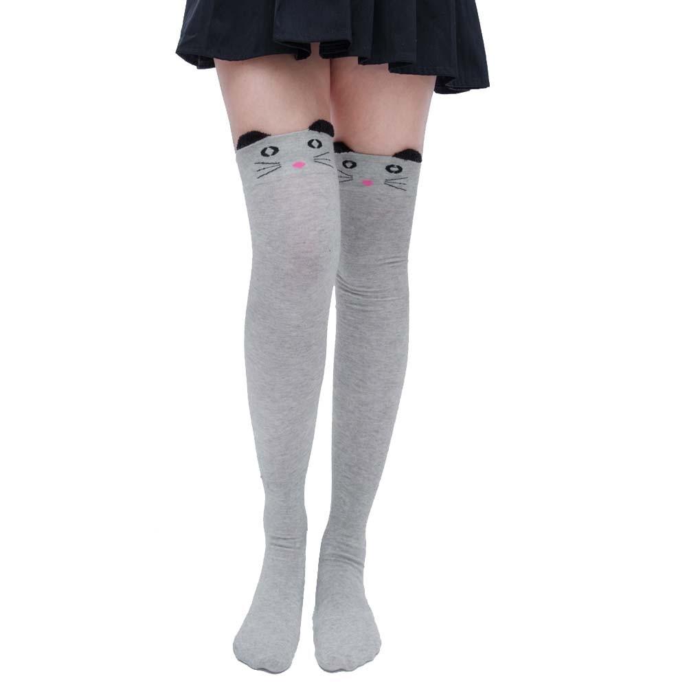 Женские носки с котом, модные чулки, повседневные хлопковые Высокие гольфы до бедра, Хлопковые гольфы для девочек, женские длинные гольфы 2020