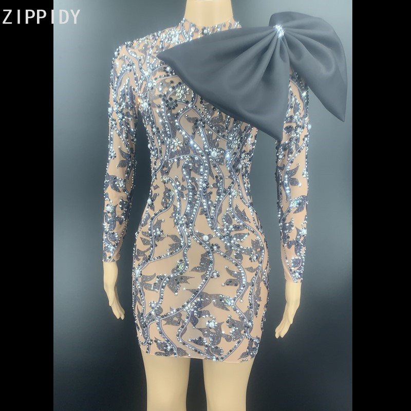 Black Pattern Rhinestone Pearl Bow Short Dress Birthday Celebrate Prom Transparent Outfit Women Dancer Dress YOUDU