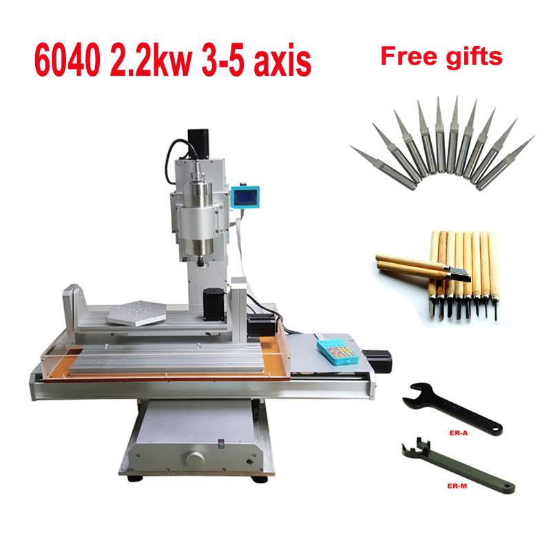 LY 5axis 2.2kw 6040 CNC Router Column Aluminum Engraving Milling Machine Vertical Type 3 4 5 Axis 2200w Spindle Motor For Metal