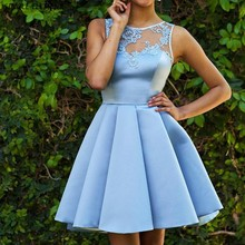 Elegant Light Sky Blue Short Homecoming Dresses Lace Appliques Satin Dress