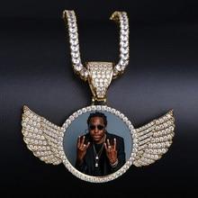 TOPGRILLZ altın Custom Made fotoğraf kanatları madalyon kolye & kolye 4mm tenis zinciri kübik zirkon erkek Hip hop takı