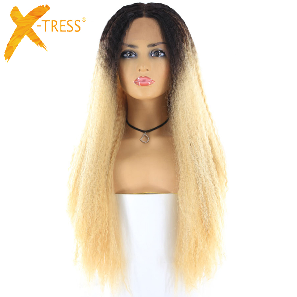 X-TRESS Wigs Lace-Wig Blonde Straight Synthetic Hairstyle Middle-Part Kinky Ombre-Color
