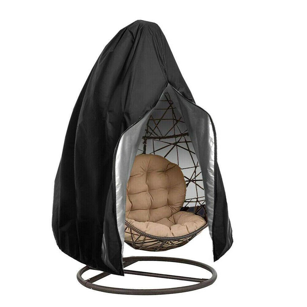 Garden Swing Zipper Protective Case Outdoor Waterproof Garden Furniture Covers Dustproof Hanging Egg Swing Black Chair Cover D30