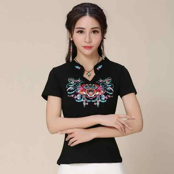 Mexico style hippie ethnic black white stand collar embroidery blouse plus size women clothing m-5xl designer shirt DF369